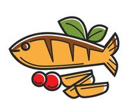Cyprus Greek traditional cuisine fish vector symbol of travel tourism. Cyprus traditional cuisine fish food symbol for Greek or Cypriot tourism travel and famous Royalty Free Stock Photography