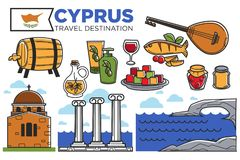 Cyprus travel destination promotional poster with country symbols. Vector illustration. Amazing seascapes, delicious cuisine, exquisite alcohol drinks, musical stock illustration
