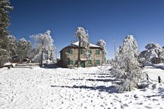 Cyprus-Troodos square with snow Royalty Free Stock Photography
