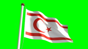 Cyprus Turkish Republic flag. Seamless  green screen stock video