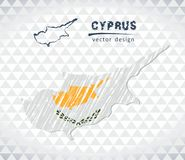 Cyprus vector map with flag inside isolated on a white background. Sketch chalk hand drawn illustration. Vector sketch map of Cyprus with flag, hand drawn chalk Stock Illustration