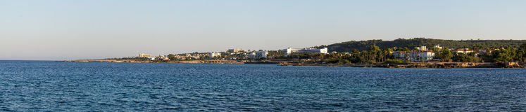 Cyprus. View from the sea of Protaras. The photo was taken at the island Kiprus. Panorama pieced together from multiple photos Royalty Free Stock Photos