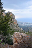 Cyprus view. View from St. Hilarion castle near Kyrenia, in North Cyprus Royalty Free Stock Photography
