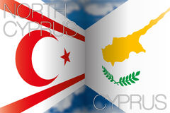 Cyprus vs north cyprus. Original file cyprus vs north cyprus flags vector illustration