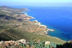 CYPRUS: The wild coast of Akamas Peninsula, view from the Aphrodite trail. The wild coast of Akamas Peninsula, view from the Aphrodite trail Stock Photo