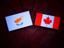 Cypryjczyk flaga z kanadyjczyk flaga na drzewnym fiszorku odizolowywającym zdjęcie royalty free