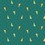 Cyraneczka i zieleń trójboka geometryczny wzór z przypadkowymi złocistymi elementami Bezszwowy wektoru wzór z abstrakcjonistyczny ilustracji