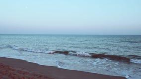 Cyraneczki i pomarańcze widok przy zmierzchem na piaskowatej plaży w Costa dorada, Hiszpania zbiory