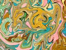 Cyraneczki zielona błękitna cyfrowa marmoryzacja Abstrakta marmurkowaty tło Holograficzny abstrakta wzór Zdjęcia Stock