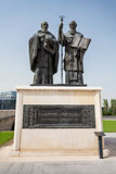 Cyril and Methodius. Saints Cyril and Methodius statue. They are credited with devising the Glagolitic alphabet Royalty Free Stock Photos