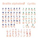 Cyrillic blindskriftalfabet, interpunktion och nummer Royaltyfri Foto