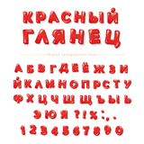 Cyrillic red glossy font. Bright glance letters and numbers. Perfect for Valentine s day, sale posters. Vector Royalty Free Stock Image