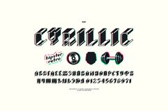 Cyrillic serif bulk font with glitch distortion effect vector illustration