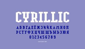 Cyrillic slab serif font in military style. Letters and numbers for logo and emblem design stock illustration