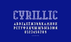 Cyrillic slab serif font in military style. Letters and numbers with rough texture for logo and emblem design. Color print on blue background royalty free illustration