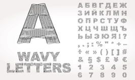 Cyrillisch Alfabet met golvend effect Royalty-vrije Stock Foto