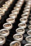 Cyrillische schrijfmachinesleutels Stock Foto