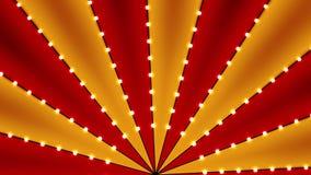 Cyrk animujący obracanie zapętlał tło czerwień i złoto linii lampas z gwiazdowym gwiazdozbiór żarówek świecidełkiem Re ilustracja wektor