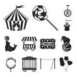 Cyrk i atrybut czarne ikony w ustalonej kolekci dla projekta Cyrkowej sztuki symbolu zapasu sieci wektorowa ilustracja ilustracji