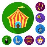 Cyrk i atrybut płaskie ikony w ustalonej kolekci dla projekta Cyrkowej sztuki symbolu zapasu sieci wektorowa ilustracja ilustracji