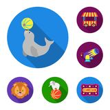 Cyrk i atrybut płaskie ikony w ustalonej kolekci dla projekta Cyrkowej sztuki symbolu zapasu sieci wektorowa ilustracja ilustracja wektor