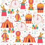 Cyrka wzór z błazenem, rowerem, balonami, królikiem w kapeluszu i lwem, ilustracja wektor