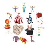 Cyrkowa przedstawienie ikon kreskówki kolekcja ilustracji