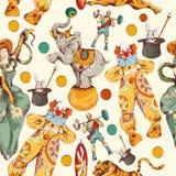 Cyrkowego doodle nakreślenia koloru bezszwowy wzór royalty ilustracja
