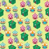 Cyrkowego isometric przedstawienie rozrywki markizy namiotowego bezszwowego deseniowego tła plenerowy festiwal z lampasami i flag Obrazy Stock