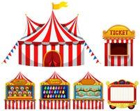 Cyrkowego namiotu i gry boothes Zdjęcia Royalty Free