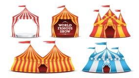 Cyrkowego namiotu Ustalony wektor Stubarwny Funfair, Karnawałowy wakacje pojęcie ilustracja ilustracji
