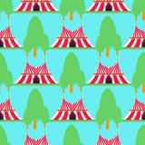 Cyrkowej przedstawienie rozrywki namiotowej markizy plenerowy festiwal z lampasami zaznacza karnawałowego bezszwowego deseniowego Obrazy Royalty Free