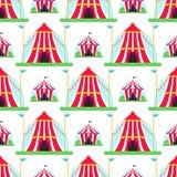 Cyrkowej przedstawienie rozrywki namiotowej markizy plenerowy festiwal z lampasami zaznacza karnawałowego bezszwowego deseniowego Zdjęcie Stock
