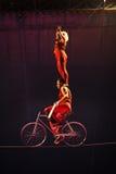 Cyrkowi artyści na wysokim drucie zdjęcie stock
