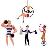 Cyrkowi artyści siłacz, iluzjonista, powietrzna gimnastyczka i juggler -, ilustracja wektor