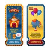 Cyrkowi bilety Cyrkowy namiot przy nocą Słoń i lew Jaskrawa świąteczna ilustracja dla drukować s i dziecka ` Fotografia Royalty Free