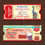 Cyrkowi przedstawienia dwa rocznika bilety ustawiający ilustracji