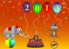 Cyrkowi zwierzęcy Nowi 2013 Rok balony bawją się decorat Zdjęcia Stock