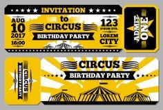 Cyrkowy biletowy urodzinowej karty wektoru mockup ilustracja wektor
