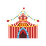 Cyrkowy Chwilowy namiot W Stripy Czerwonym płótnie Z flaga, girlandami I wejście znakiem, Zdjęcie Royalty Free