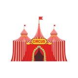Cyrkowy Chwilowy namiot W Stripy Czerwonym płótnie Z flaga I wejście znakiem Fotografia Royalty Free