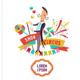 Cyrkowy clipart Cyrkowy magik i juggler ilustracja wektor