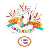 Cyrkowy clipart Powietrzny akrobata pod kopułą cyrk royalty ilustracja