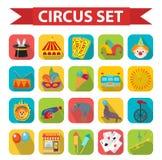 Cyrkowy ikona set, mieszkanie, kreskówka styl Ustawia na białym tle z słoniem, lew, Sealion, pistolet, błazen Obrazy Stock