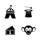 Cyrkowy karnawałowy park rozrywki Proste Powiązane Wektorowe ikony Obraz Stock