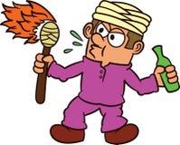 Cyrkowy mężczyzna dmuchania ogienia postać z kreskówki obraz royalty free