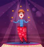 Cyrkowy przedstawienie Śmieszne błazenu charakteru żonglerki obcy kreskówki kota ucieczek ilustraci dachu wektor ilustracji