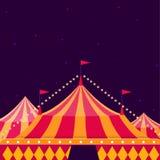 Cyrkowy przedstawienie plakat z dużym wierzchołkiem na ciemnym tle ilustracji