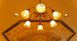 Cystal light fixture on ceiling royalty free stock photo