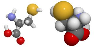 Cysteine (Cys, C) molecule Royalty-vrije Stock Foto